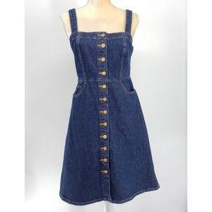 Madewell | Denim Button Front Apron Dress- Size 12